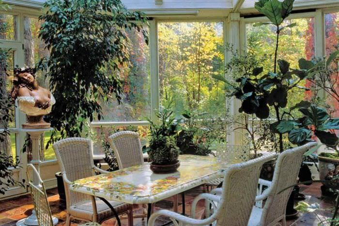 вариант использования светлых идей оформления зимнего сада