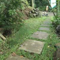 идея применения ярких садовых дорожек картинка