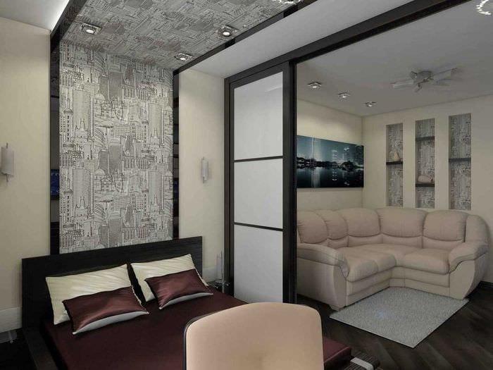 идея красивого декора гостиной спальни