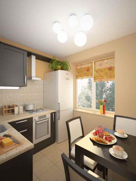 вариант красивого интерьера кухни 11 кв.м
