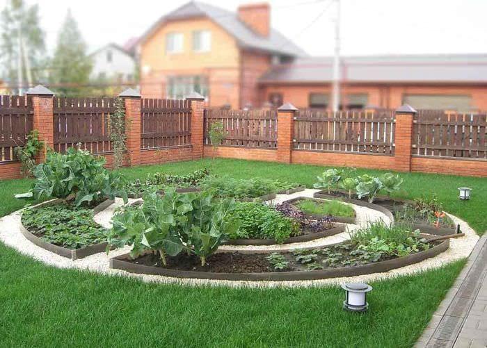 вариант светлого декора огорода в частном дворе