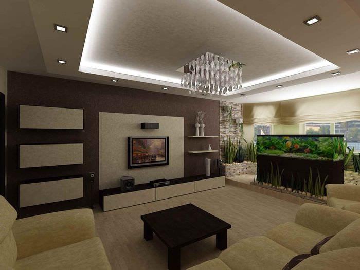 идея светлого декора гостиной 15 кв.м