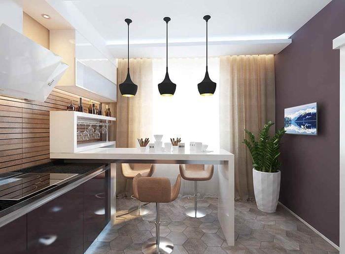 идея светлого дизайна кухни 13 кв.м