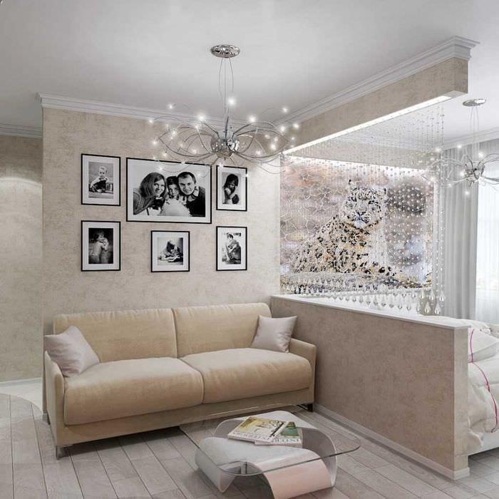 вариант яркого стиля гостиной спальни