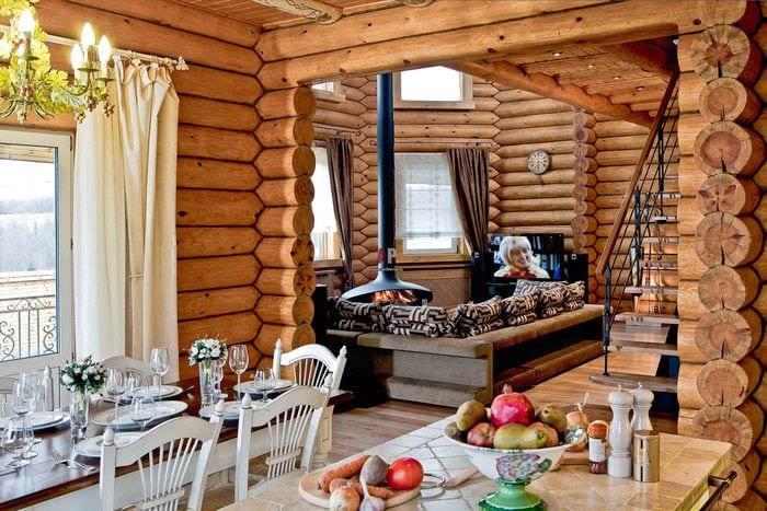 идея красивого дизайна кухни в деревянном доме