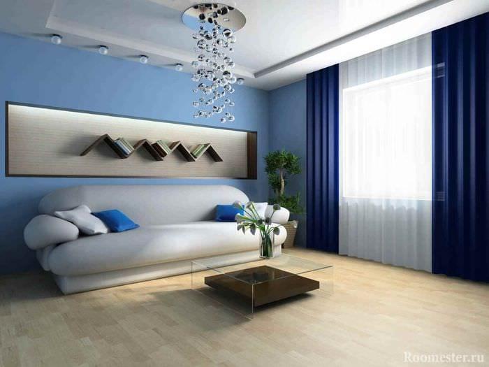 вариант светлого стиля гостиной 15 кв.м