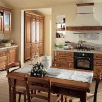 вариант светлого интерьера кухни в деревенском стиле фото