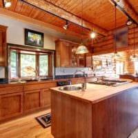 пример красивого интерьера кухни в деревянном доме фото