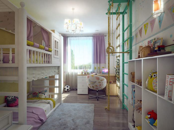 вариант красивого интерьера комнаты 12 кв.м