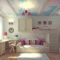 пример необычного дизайна детской комнаты для девочки картинка