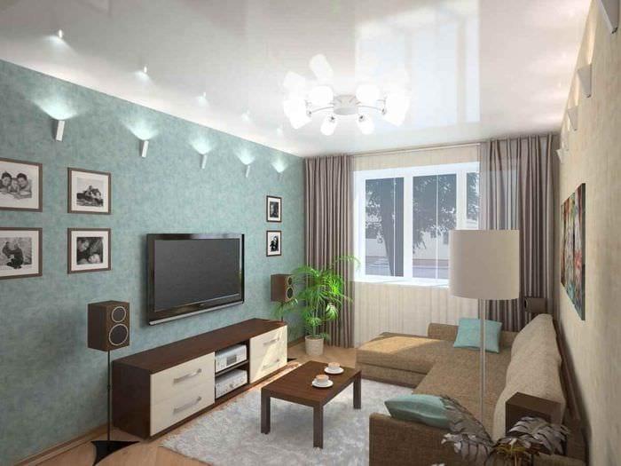 идея яркого декора гостиной 15 кв.м