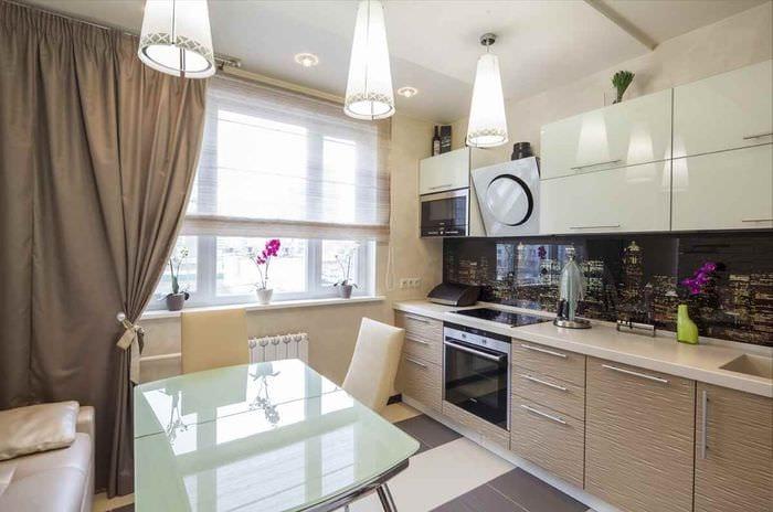 идея светлого дизайна кухни 7 кв.м
