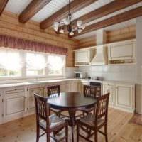 идея светлого стиля кухни в деревянном доме фото