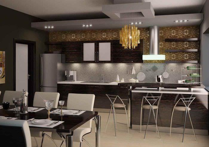 вариант светлого стиля кухни в загородном доме