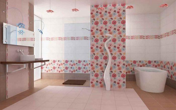 пример яркого интерьера укладки плитки в ванной комнате