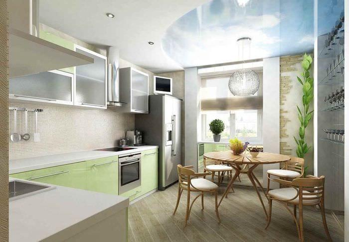 вариант светлого дизайна кухни 7 кв.м