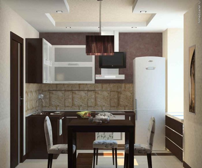 идея яркого дизайна кухни с газовой колонкой