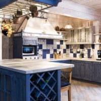 идея необычного дизайна кухни в деревянном доме картинка