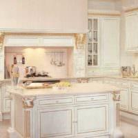 идея светлого дизайна кухни в классическом стиле фото