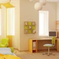 пример применения красивого желтого цвета в интерьере комнаты фото