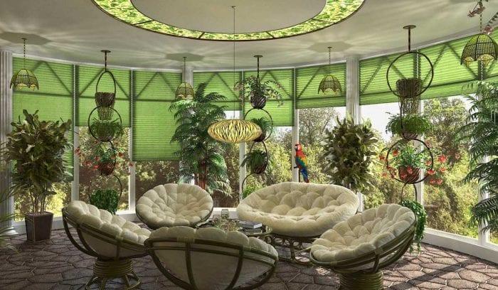 вариант использования необычных идей оформления зимнего сада в доме