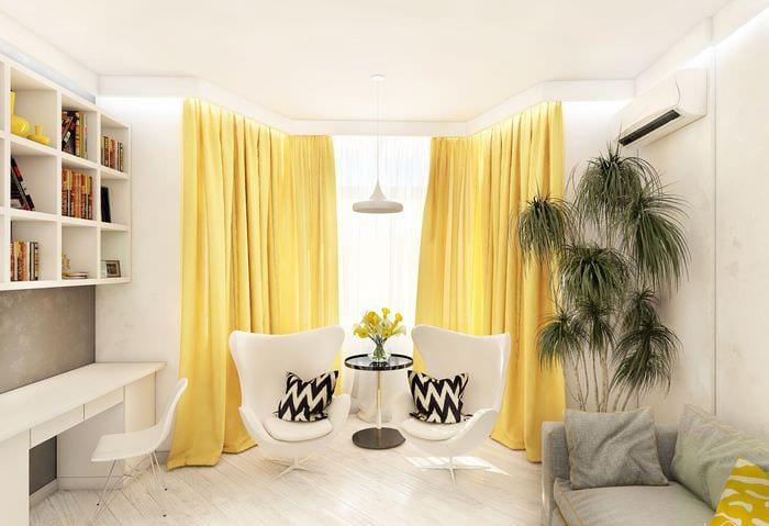 Интерьер желтый цвет в спальне