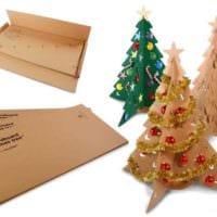 вариант создания праздничной елки из картона своими руками картинка