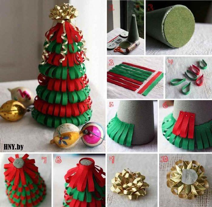 вариант создания праздничной елки из бумаги самостоятельно