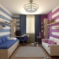 вариант яркого интерьера комнаты 12 кв.м фото