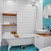 идея красивого стиля укладки плитки в ванной комнате фото