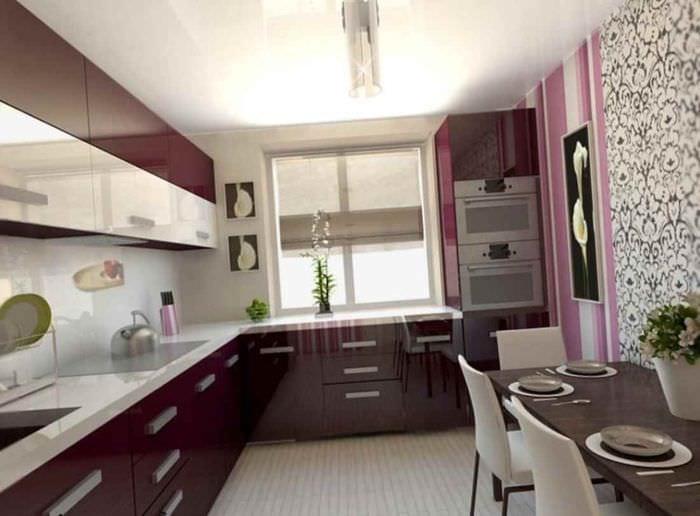 идея яркого декора кухни 7 кв.м