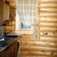 пример необычного стиля кухни в деревянном доме картинка