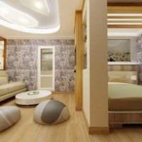 идея необычного дизайна гостиной спальни картинка