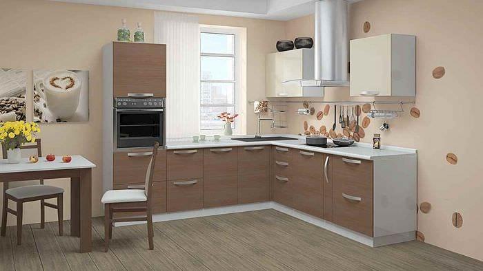 идея светлого интерьера кухни 10 кв.м. серии п 44