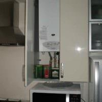 идея красивого интерьера кухни с газовой колонкой картинка