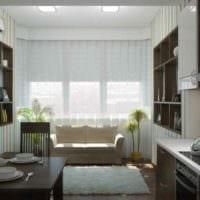 вариант светлого интерьера кухни 10 кв.м. серии п 44 фото