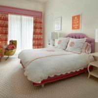 пример светлого дизайна детской комнаты для девочки фото