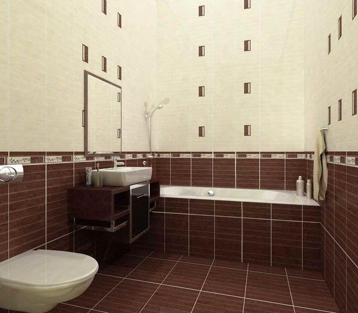 вариант красивого стиля укладки плитки в ванной комнате