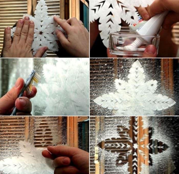 рисование на окнах зубной пастой