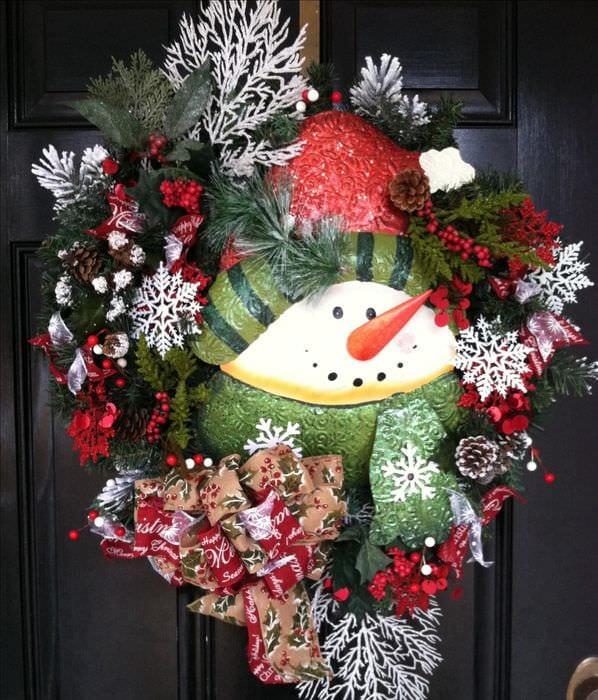 снеговик на дверь