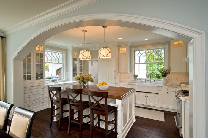 современная кухня столовая гостиная
