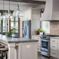 кухня в стиле лофт белый цвет
