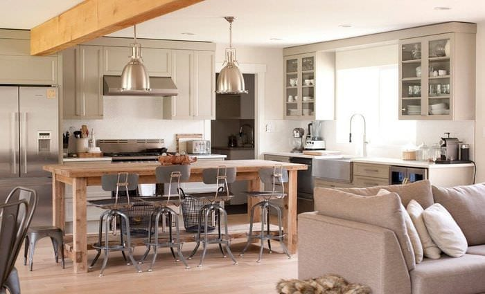 стильная кухня столовая гостиная