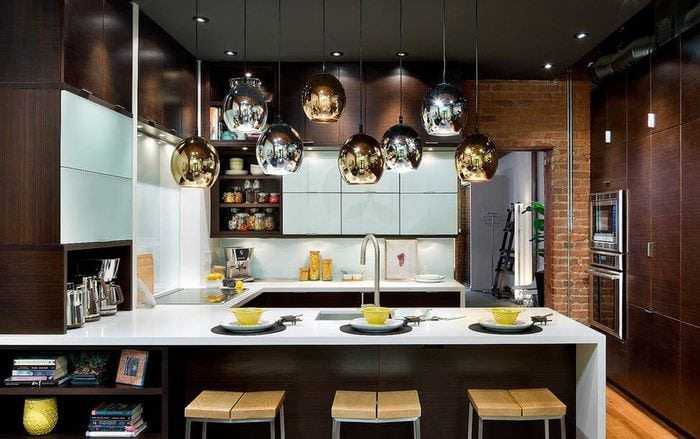 стильный дизайн кухни венге