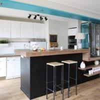 стильный дизайн кухни столовой гостиной в частном доме