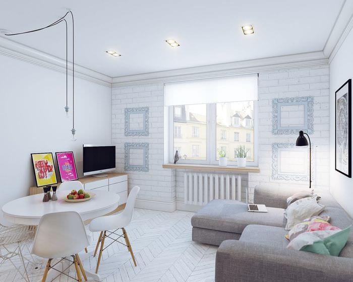 светлый дизайн квартиры студии