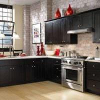 кухня в стиле лофт темная
