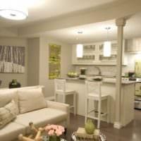 удобный дизайн кухни столовой гостиной в частном доме