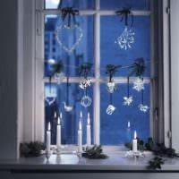 украшение окна к новому году декор