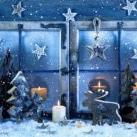украшение окна к новому году дизайн